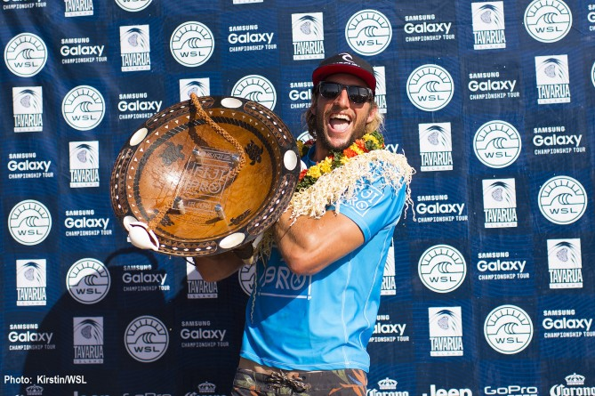 Owen Wright of South Coast, NSW, Australia (pictured) celebrates his win at the Fiji Pro posting a Perfect 20.00 heat score at Cloudbreak on Tuesday June 16, 2015.